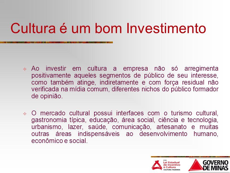 Cultura é um bom Investimento Ao investir em cultura a empresa não só arregimenta positivamente aqueles segmentos de público de seu interesse, como ta
