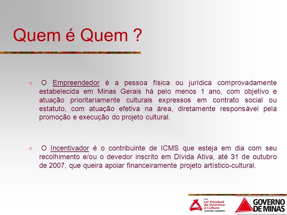 Quem é Quem ? O Empreendedor é a pessoa física ou jurídica comprovadamente estabelecida em Minas Gerais há pelo menos 1 ano, com objetivo e atuação pr