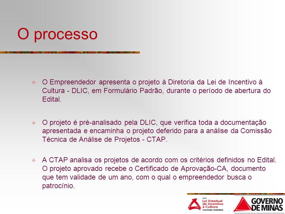 O processo O Empreendedor apresenta o projeto à Diretoria da Lei de Incentivo à Cultura - DLIC, em Formulário Padrão, durante o período de abertura do Edital.