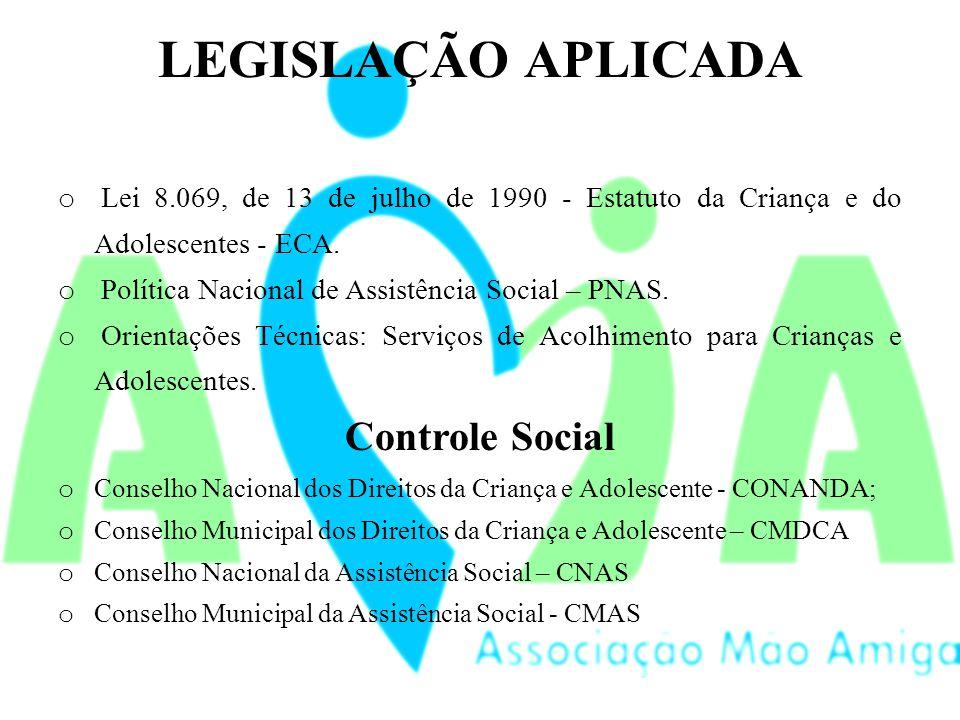 LEGISLAÇÃO APLICADA o Lei 8.069, de 13 de julho de 1990 - Estatuto da Criança e do Adolescentes - ECA.