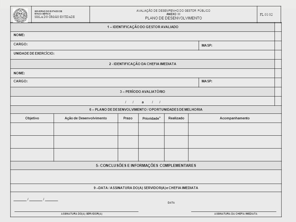 AVALIAÇÃO DE DESEMPENHO DOS GESTORES PÚBLICOS - ADGP 1 – IDENTIFICAÇÃO DO GESTOR AVALIADO NOME: CARGO: MASP: UNIDADE DE EXERCÍCIO: 2 - IDENTIFICAÇÃO D