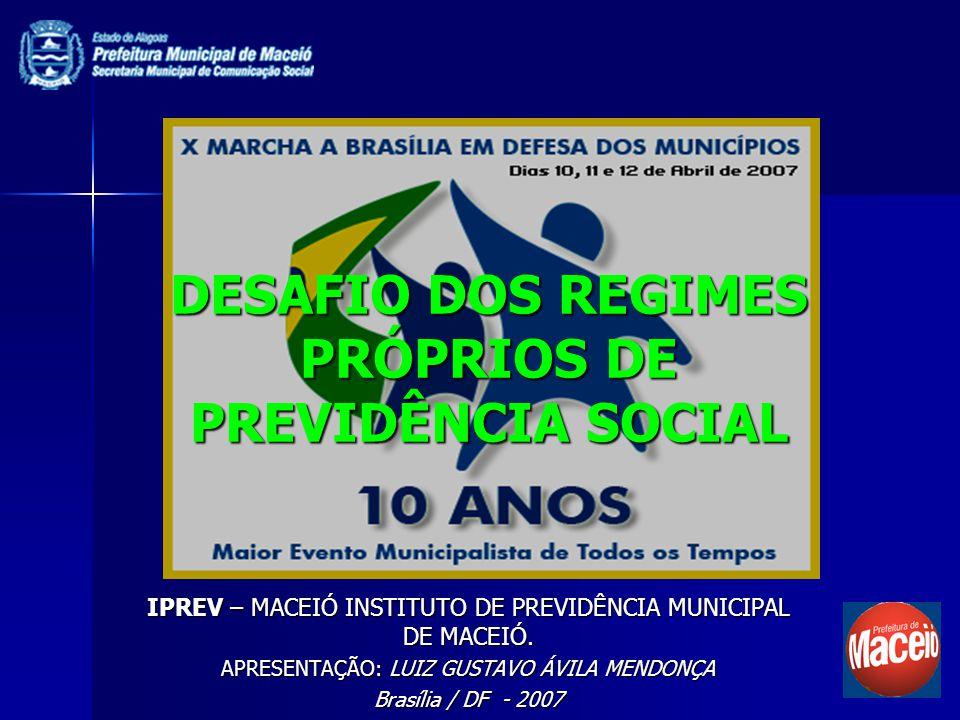 DESAFIO DOS REGIMES PRÓPRIOS DE PREVIDÊNCIA SOCIAL IPREV – MACEIÓ INSTITUTO DE PREVIDÊNCIA MUNICIPAL DE MACEIÓ. APRESENTAÇÃO: LUIZ GUSTAVO ÁVILA MENDO