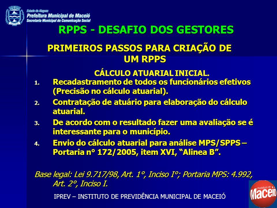 RPPS - DESAFIO DOS GESTORES 1. Recadastramento de todos os funcionários efetivos (Precisão no cálculo atuarial). 2. Contratação de atuário para elabor