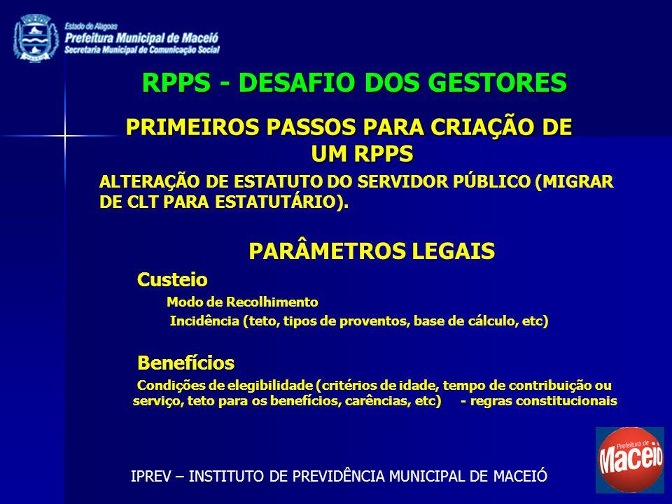 RPPS - DESAFIO DOS GESTORES IPREV – INSTITUTO DE PREVIDÊNCIA MUNICIPAL DE MACEIÓ ALTERAÇÃO DE ESTATUTO DO SERVIDOR PÚBLICO (MIGRAR DE CLT PARA ESTATUT