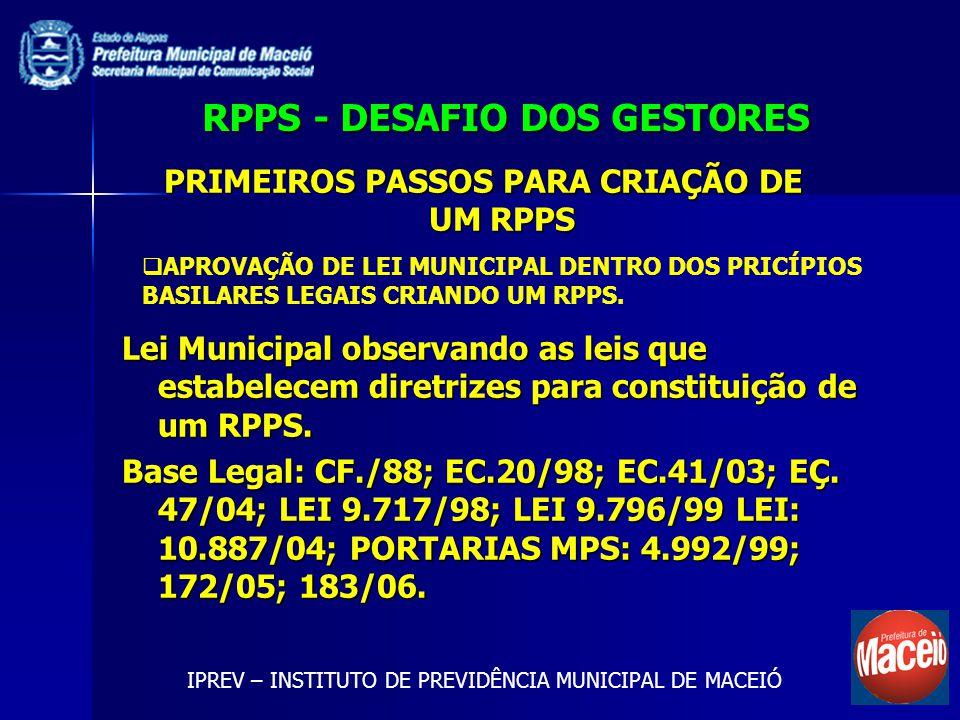 RPPS - DESAFIO DOS GESTORES Lei Municipal observando as leis que estabelecem diretrizes para constituição de um RPPS. Base Legal: CF./88; EC.20/98; EC