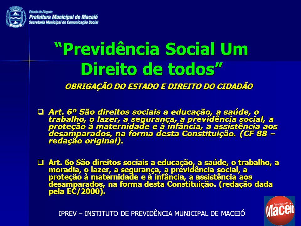 Previdência Social Um Direito de todos OBRIGAÇÃO DO ESTADO E DIREITO DO CIDADÃO Art. 6º São direitos sociais a educação, a saúde, o trabalho, o lazer,