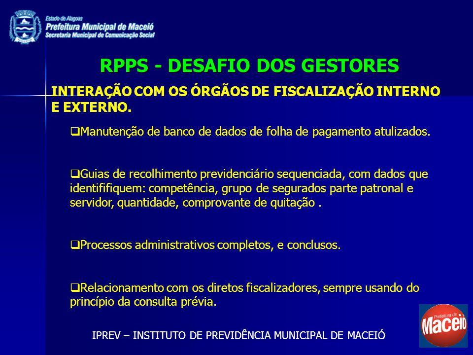 RPPS - DESAFIO DOS GESTORES IPREV – INSTITUTO DE PREVIDÊNCIA MUNICIPAL DE MACEIÓ INTERAÇÃO COM OS ÓRGÃOS DE FISCALIZAÇÃO INTERNO E EXTERNO.