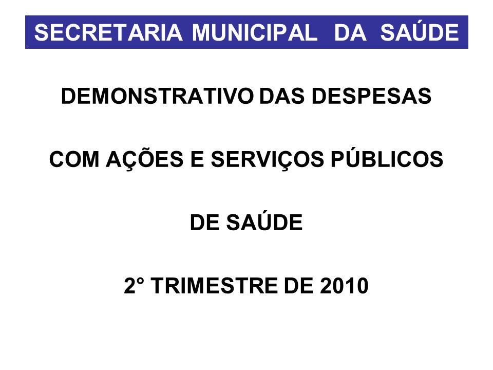 DEMONSTRATIVO DAS DESPESAS COM AÇÕES E SERVIÇOS PÚBLICOS DE SAÚDE 2° TRIMESTRE DE 2010 SECRETARIA MUNICIPAL DA SAÚDE