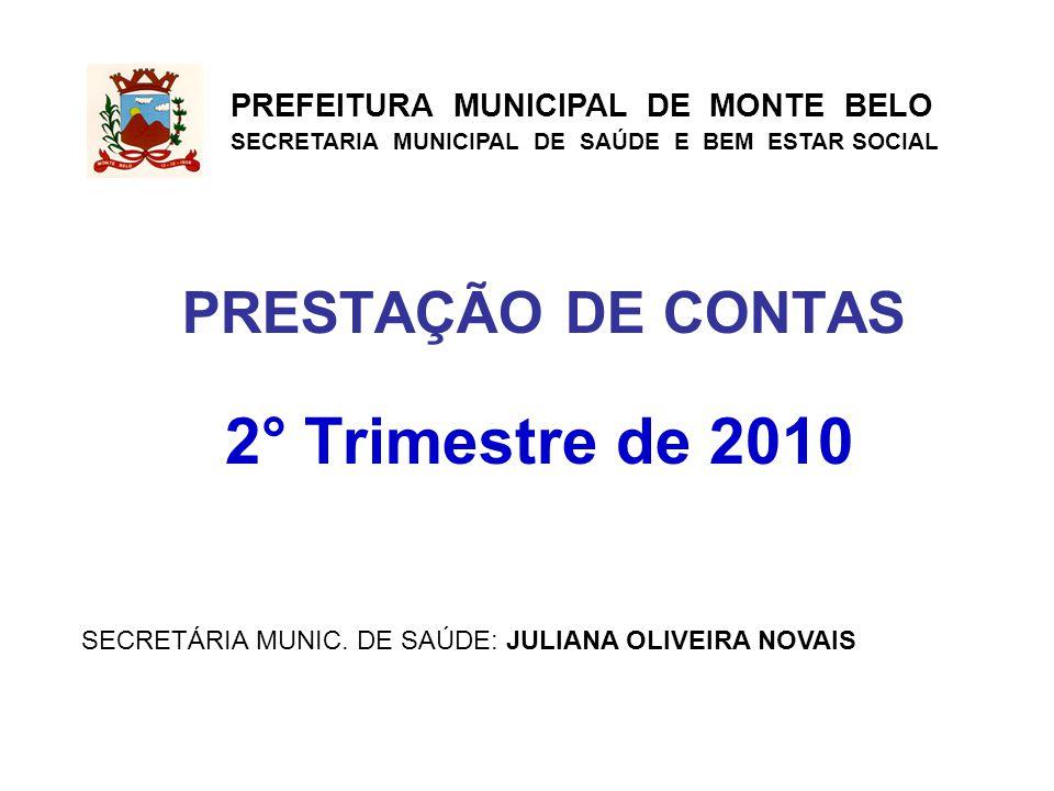 PRESTAÇÃO DE CONTAS 2° Trimestre de 2010 PREFEITURA MUNICIPAL DE MONTE BELO SECRETARIA MUNICIPAL DE SAÚDE E BEM ESTAR SOCIAL SECRETÁRIA MUNIC.