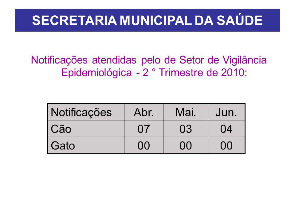 SECRETARIA MUNICIPAL DA SAÚDE Notificações atendidas pelo de Setor de Vigilância Epidemiológica - 2 ° Trimestre de 2010: NotificaçõesAbr.Mai.Jun.