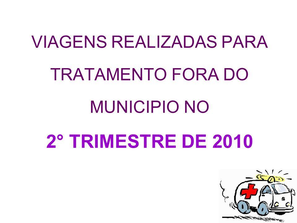 VIAGENS REALIZADAS PARA TRATAMENTO FORA DO MUNICIPIO NO 2° TRIMESTRE DE 2010