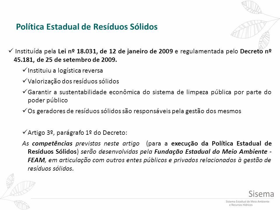 Política Estadual de Resíduos Sólidos Instituída pela Lei nº 18.031, de 12 de janeiro de 2009 e regulamentada pelo Decreto nº 45.181, de 25 de setembr