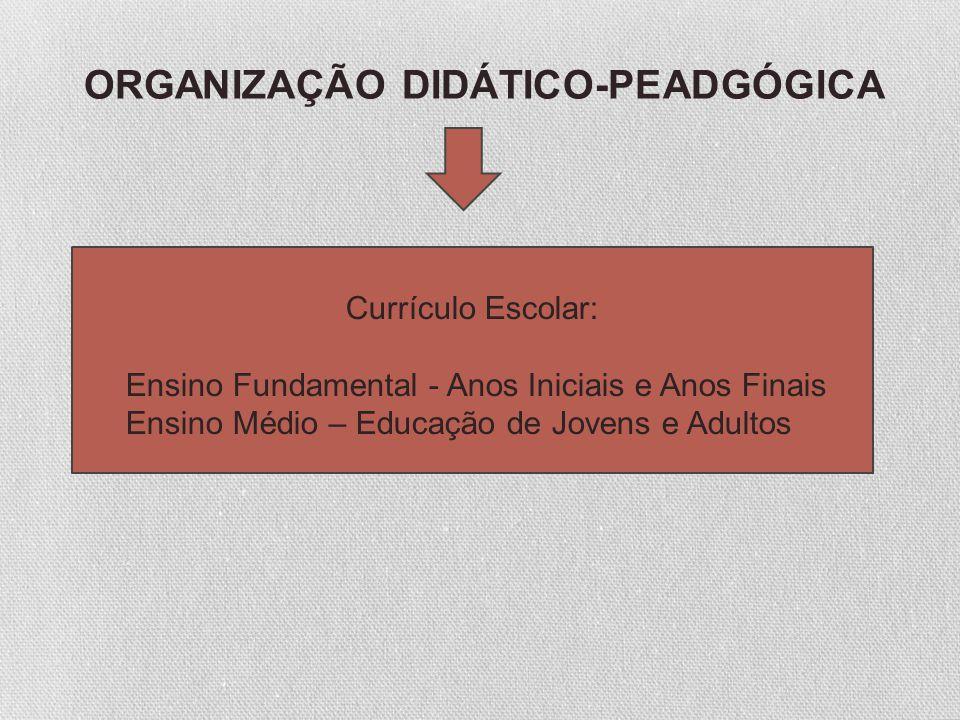 ORGANIZAÇÃO DIDÁTICO-PEADGÓGICA Currículo Escolar: Ensino Fundamental - Anos Iniciais e Anos Finais Ensino Médio – Educação de Jovens e Adultos