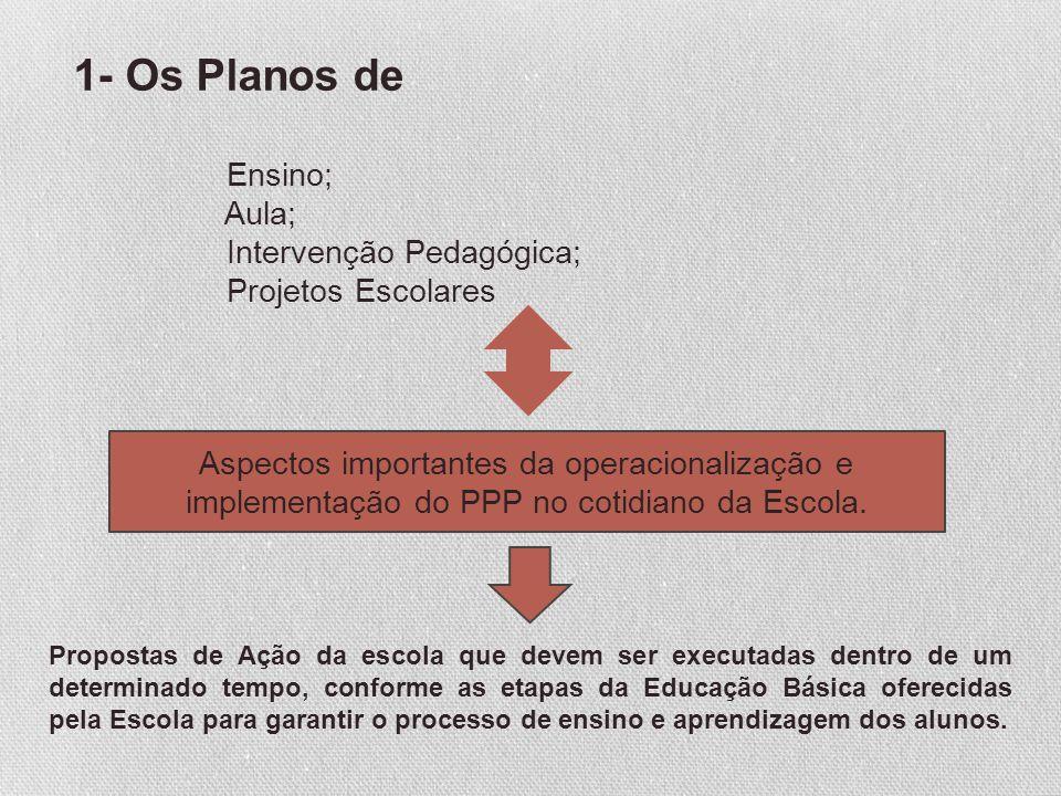 1- Os Planos de Ensino; Aula; Intervenção Pedagógica; Projetos Escolares Aspectos importantes da operacionalização e implementação do PPP no cotidiano