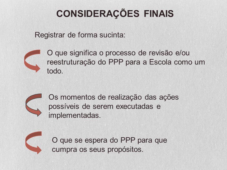 CONSIDERAÇÕES FINAIS Registrar de forma sucinta: O que significa o processo de revisão e/ou reestruturação do PPP para a Escola como um todo. Os momen