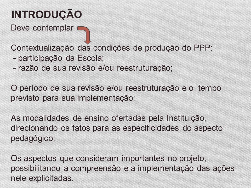 Deve contemplar Contextualização das condições de produção do PPP: - participação da Escola; - razão de sua revisão e/ou reestruturação; O período de