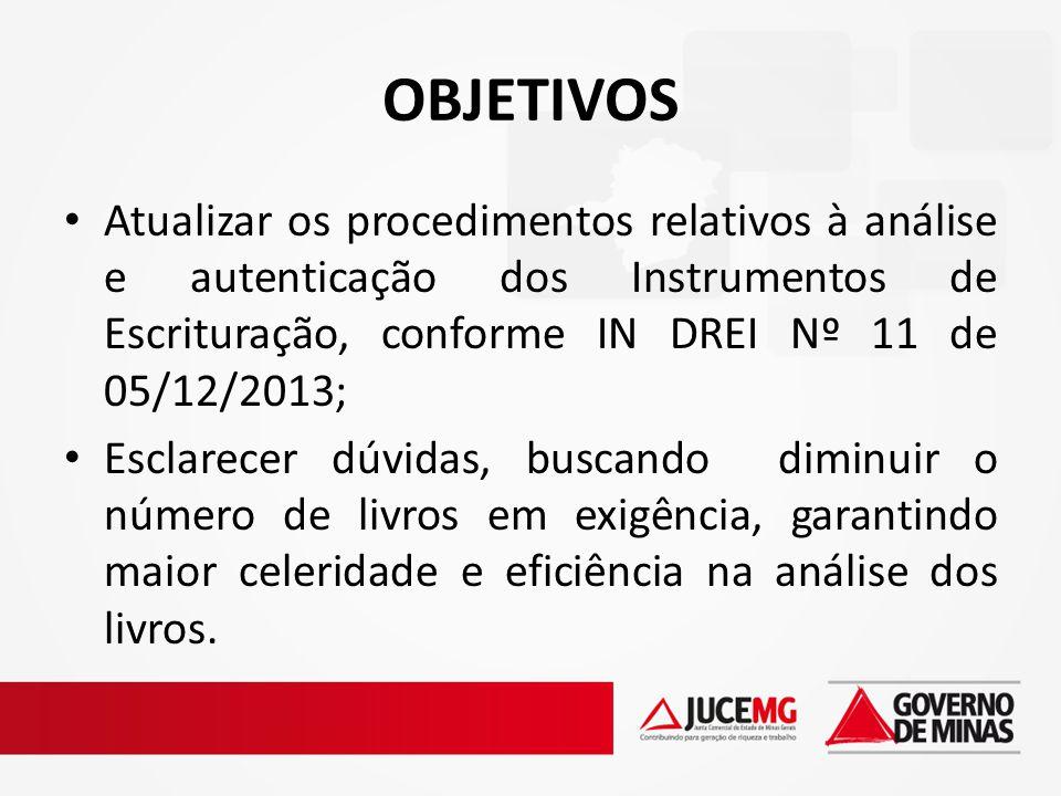 OBJETIVOS Atualizar os procedimentos relativos à análise e autenticação dos Instrumentos de Escrituração, conforme IN DREI Nº 11 de 05/12/2013; Esclar
