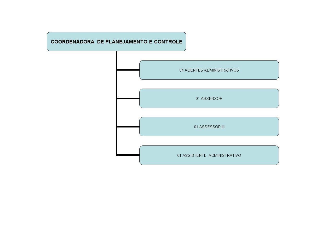 COORDENADORA DE PLANEJAMENTO E CONTROLE 04 AGENTES ADMINISTRATIVOS 01 ASSESSOR 01 ASSESSOR III 01 ASSISTENTE ADMINISTRATIVO