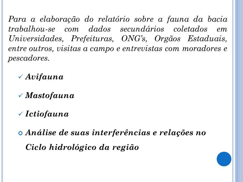 Para a elaboração do relatório sobre a fauna da bacia trabalhou-se com dados secundários coletados em Universidades, Prefeituras, ONGs, Orgãos Estadua