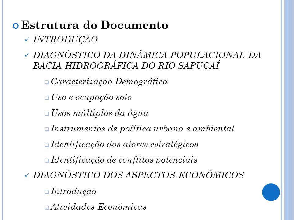 Estrutura do Documento INTRODUÇÃO DIAGNÓSTICO DA DINÂMICA POPULACIONAL DA BACIA HIDROGRÁFICA DO RIO SAPUCAÍ Caracterização Demográfica Uso e ocupação