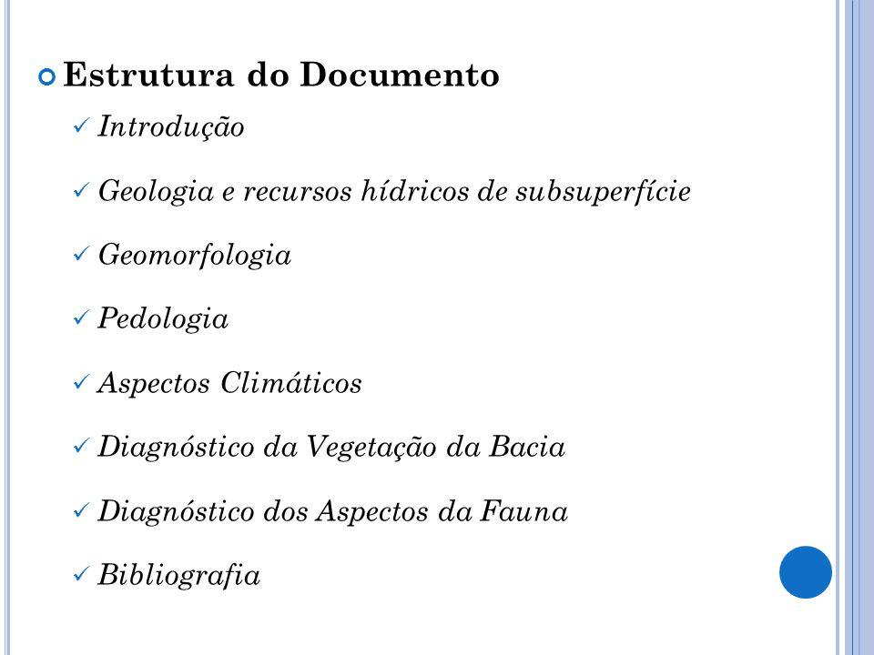 Estrutura do Documento Introdução Geologia e recursos hídricos de subsuperfície Geomorfologia Pedologia Aspectos Climáticos Diagnóstico da Vegetação d