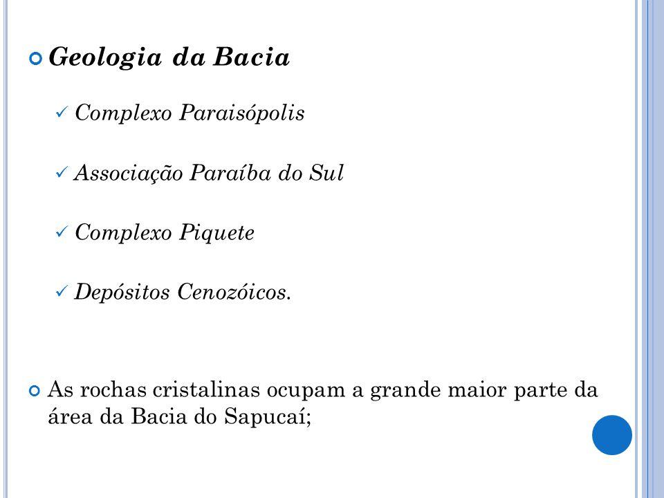 Geologia da Bacia Complexo Paraisópolis Associação Paraíba do Sul Complexo Piquete Depósitos Cenozóicos. As rochas cristalinas ocupam a grande maior p