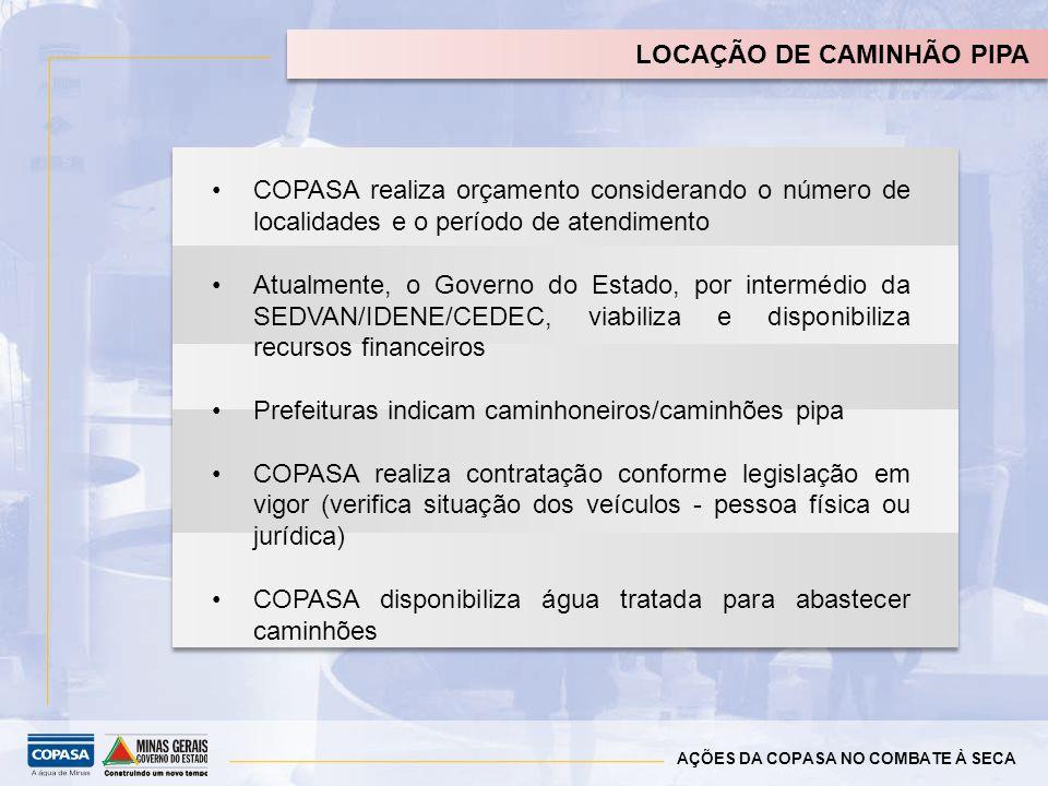 LOCAÇÃO DE CAMINHÃO PIPA COPASA realiza orçamento considerando o número de localidades e o período de atendimento Atualmente, o Governo do Estado, por