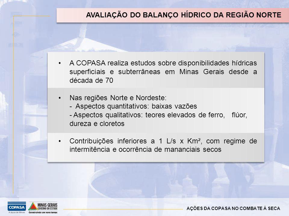 AÇÕES DA COPASA NO COMBATE À SECA AVALIAÇÃO DO BALANÇO HÍDRICO DA REGIÃO NORTE COPASA realiza orçamento; SEDRU/CEDEC viabilizam e disponibilizam recur