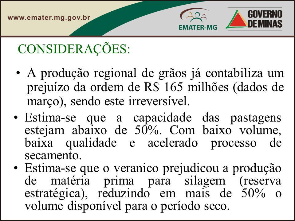 CONSIDERAÇÕES: A produção regional de grãos já contabiliza um prejuízo da ordem de R$ 165 milhões (dados de março), sendo este irreversível. Estima-se