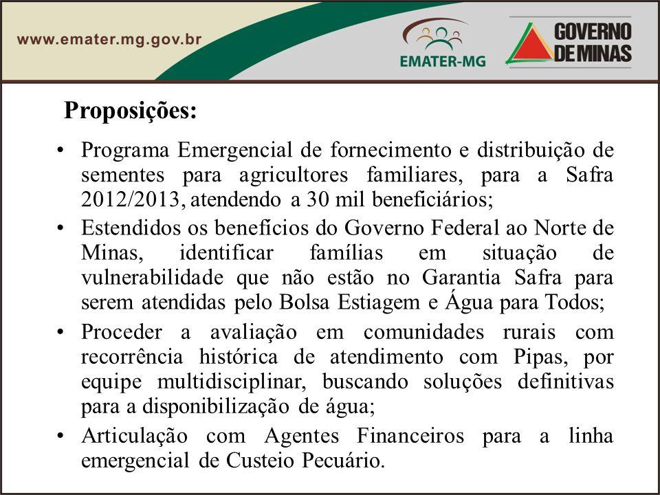 Proposições: Programa Emergencial de fornecimento e distribuição de sementes para agricultores familiares, para a Safra 2012/2013, atendendo a 30 mil