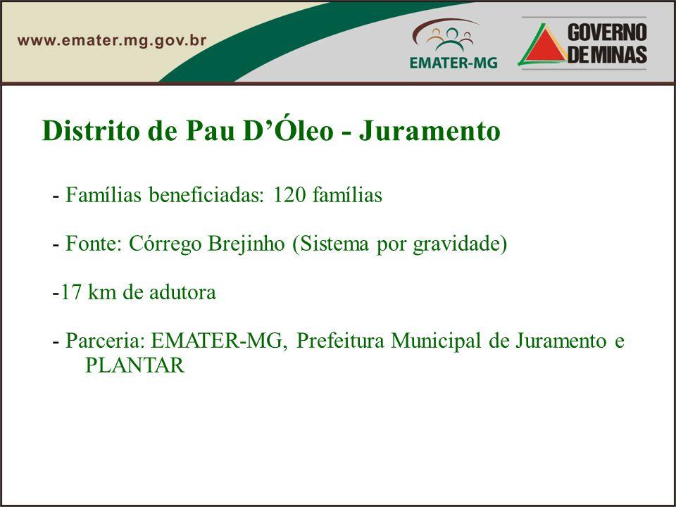 Distrito de Pau DÓleo - Juramento - Famílias beneficiadas: 120 famílias - Fonte: Córrego Brejinho (Sistema por gravidade) -17 km de adutora - Parceria