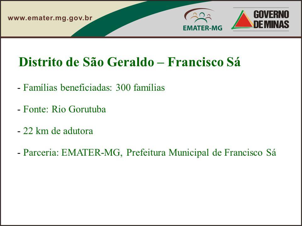 Distrito de São Geraldo – Francisco Sá - Famílias beneficiadas: 300 famílias - Fonte: Rio Gorutuba - 22 km de adutora - Parceria: EMATER-MG, Prefeitur