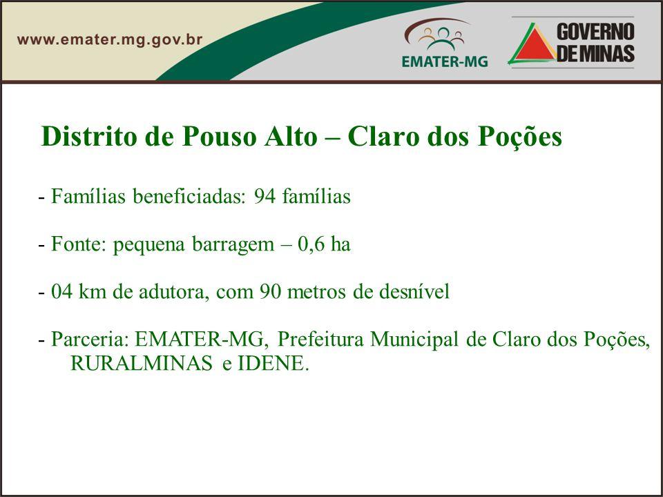 Distrito de Pouso Alto – Claro dos Poções - Famílias beneficiadas: 94 famílias - Fonte: pequena barragem – 0,6 ha - 04 km de adutora, com 90 metros de