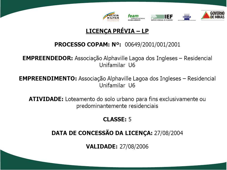 LICENÇA PRÉVIA – LP PROCESSO COPAM: Nº: 00649/2001/001/2001 EMPREENDEDOR: Associação Alphaville Lagoa dos Ingleses – Residencial Unifamilar U6 EMPREEN
