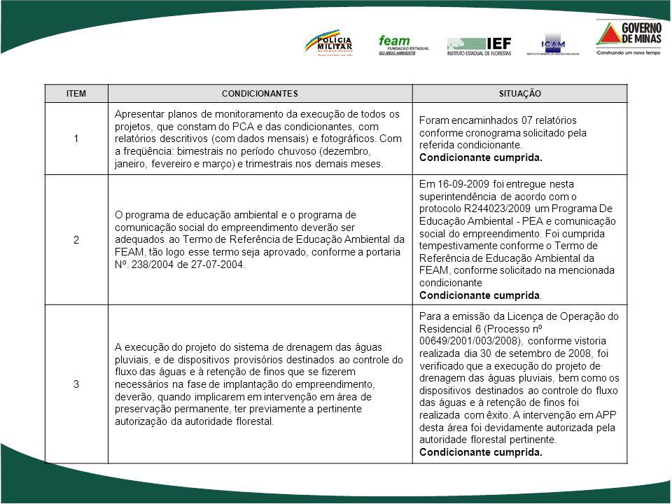 ITEMCONDICIONANTESSITUAÇÃO 1 Apresentar planos de monitoramento da execução de todos os projetos, que constam do PCA e das condicionantes, com relatór