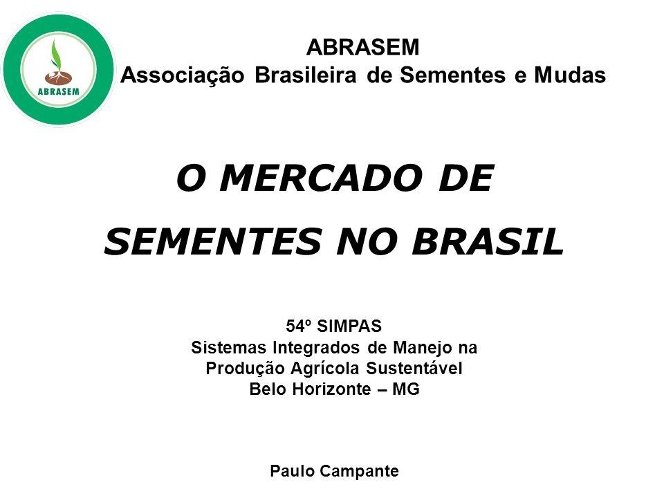 O MERCADO DE SEMENTES NO BRASIL 54º SIMPAS Sistemas Integrados de Manejo na Produção Agrícola Sustentável Belo Horizonte – MG Paulo Campante ABRASEM Associação Brasileira de Sementes e Mudas