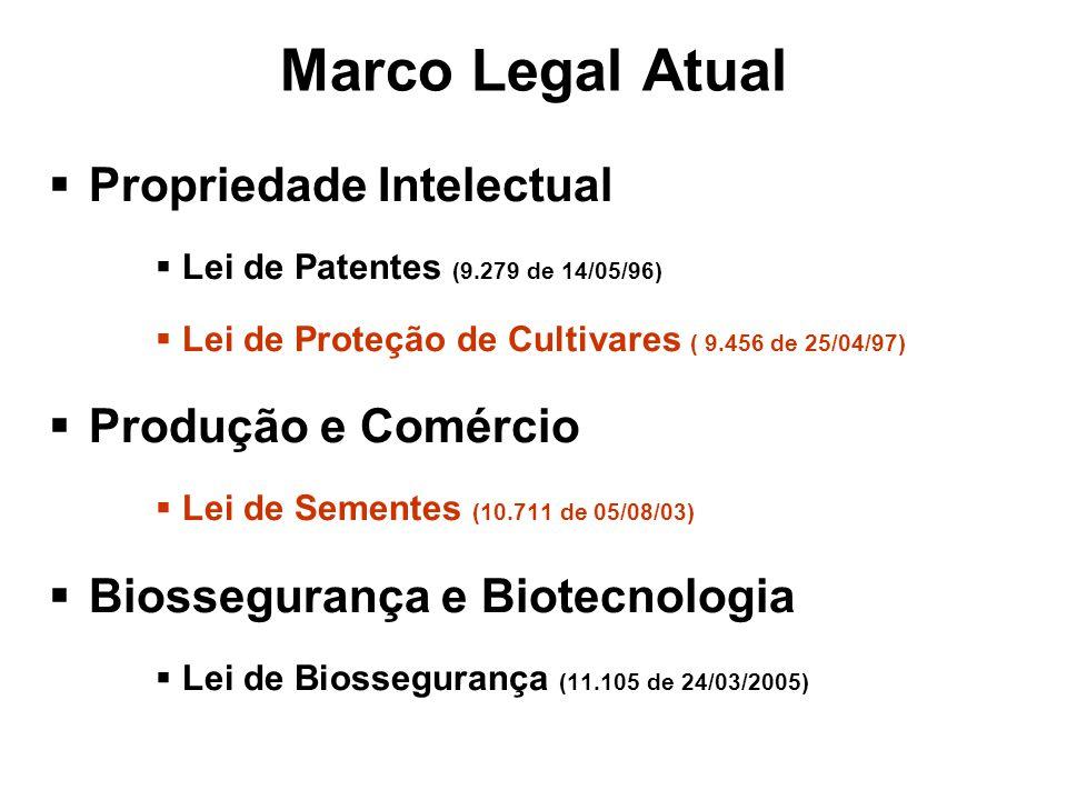 Marco Legal Atual Propriedade Intelectual Lei de Patentes (9.279 de 14/05/96) Lei de Proteção de Cultivares ( 9.456 de 25/04/97) Produção e Comércio Lei de Sementes (10.711 de 05/08/03) Biossegurança e Biotecnologia Lei de Biossegurança (11.105 de 24/03/2005)