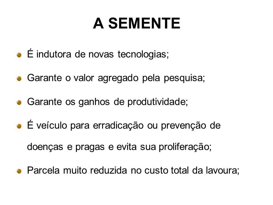 A SEMENTE É indutora de novas tecnologias; Garante o valor agregado pela pesquisa; Garante os ganhos de produtividade; É veículo para erradicação ou p