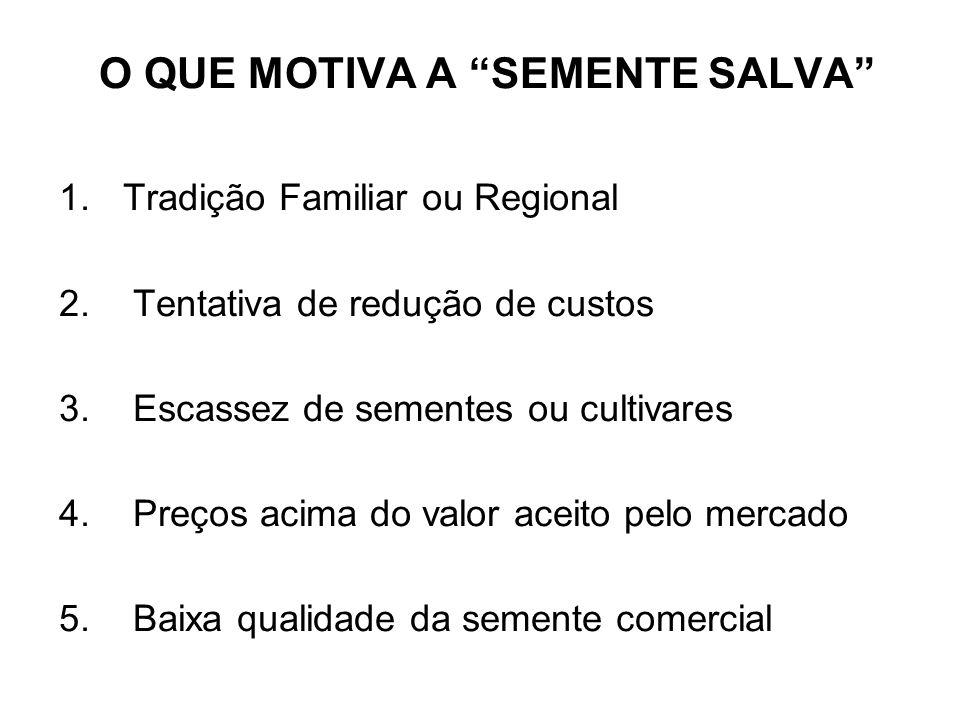 O QUE MOTIVA A SEMENTE SALVA 1.Tradição Familiar ou Regional 2.