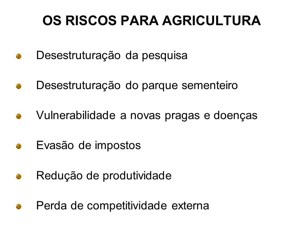 OS RISCOS PARA AGRICULTURA Desestruturação da pesquisa Desestruturação do parque sementeiro Vulnerabilidade a novas pragas e doenças Evasão de impostos Redução de produtividade Perda de competitividade externa