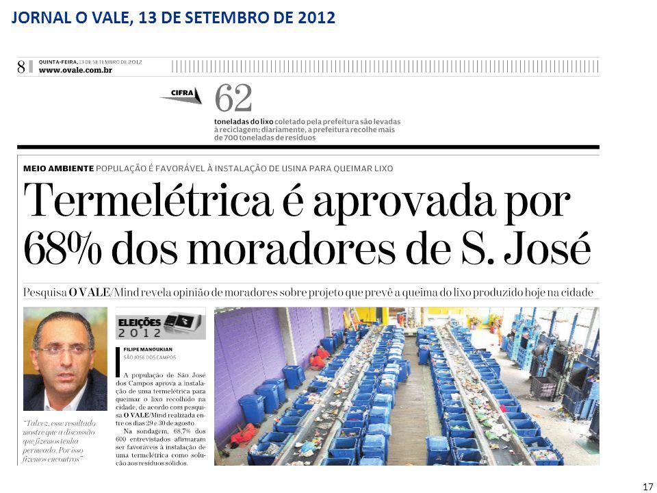17 JORNAL O VALE, 13 DE SETEMBRO DE 2012