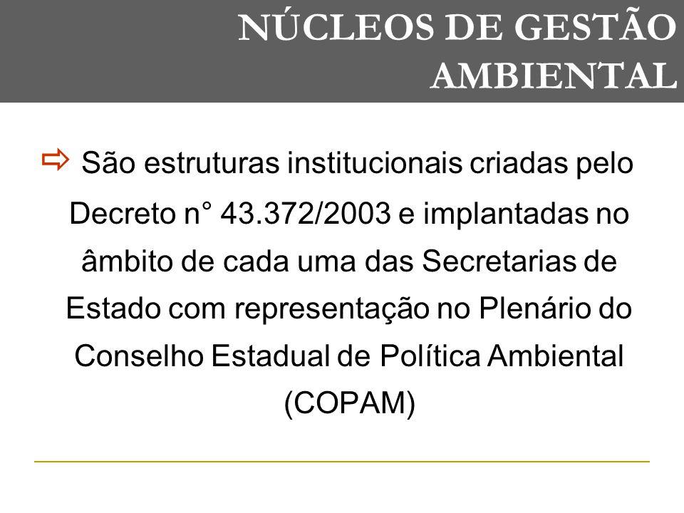 NÚCLEOS DE GESTÃO AMBIENTAL São estruturas institucionais criadas pelo Decreto n° 43.372/2003 e implantadas no âmbito de cada uma das Secretarias de Estado com representação no Plenário do Conselho Estadual de Política Ambiental (COPAM)
