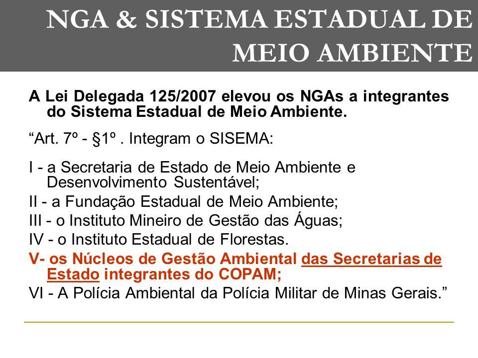 NGA & SISTEMA ESTADUAL DE MEIO AMBIENTE A Lei Delegada 125/2007 elevou os NGAs a integrantes do Sistema Estadual de Meio Ambiente.