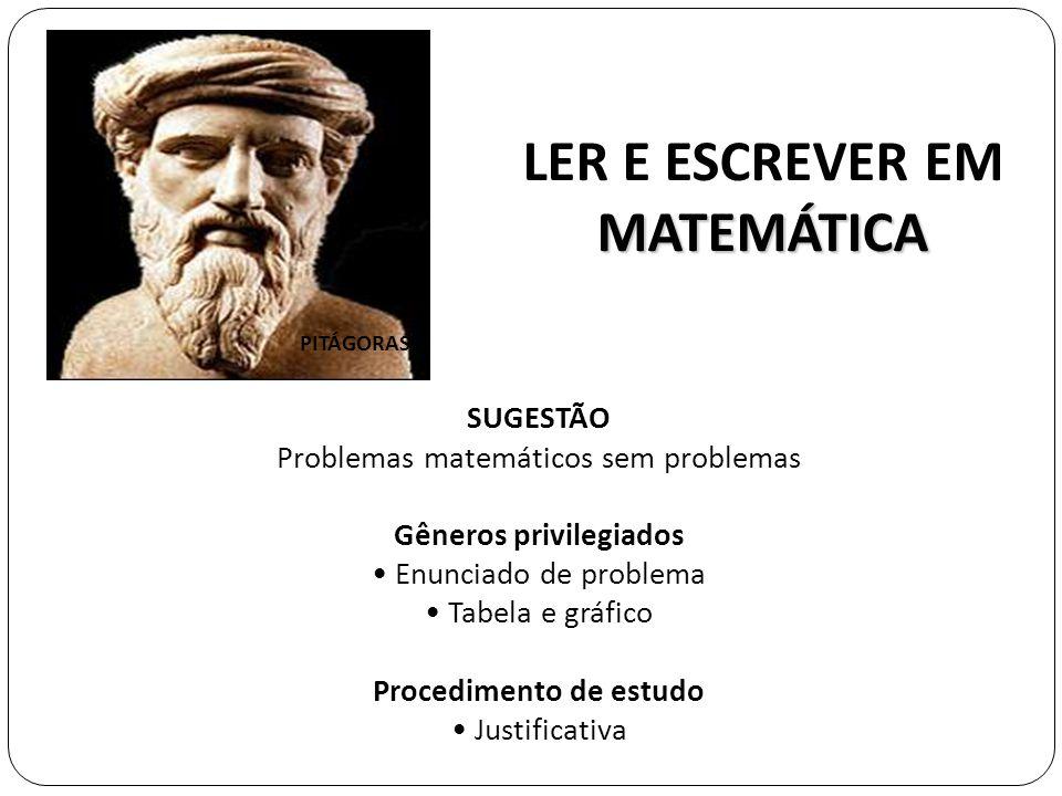 MATEMÁTICA LER E ESCREVER EM MATEMÁTICA SUGESTÃO Problemas matemáticos sem problemas Gêneros privilegiados Enunciado de problema Tabela e gráfico Proc