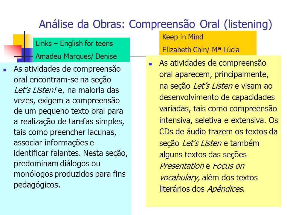 Análise da Obras: Compreensão Oral (listening) As atividades de compreensão oral encontram-se na seção Lets Listen! e, na maioria das vezes, exigem a