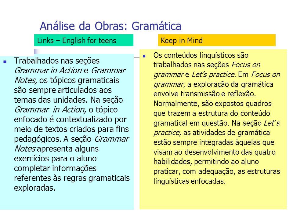 Análise da Obras: Gramática Trabalhados nas seções Grammar in Action e Grammar Notes, os tópicos gramaticais são sempre articulados aos temas das unidades.