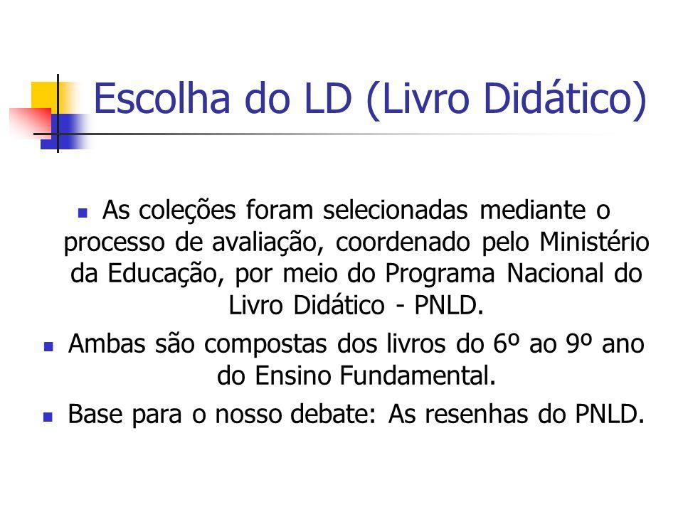 Escolha do LD (Livro Didático) As coleções foram selecionadas mediante o processo de avaliação, coordenado pelo Ministério da Educação, por meio do Pr