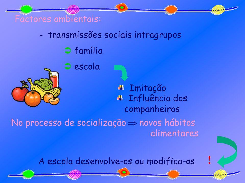 Factores ambientais: - transmissões sociais intragrupos família escola Influência dos companheiros Imitação No processo de socialização novos hábitos