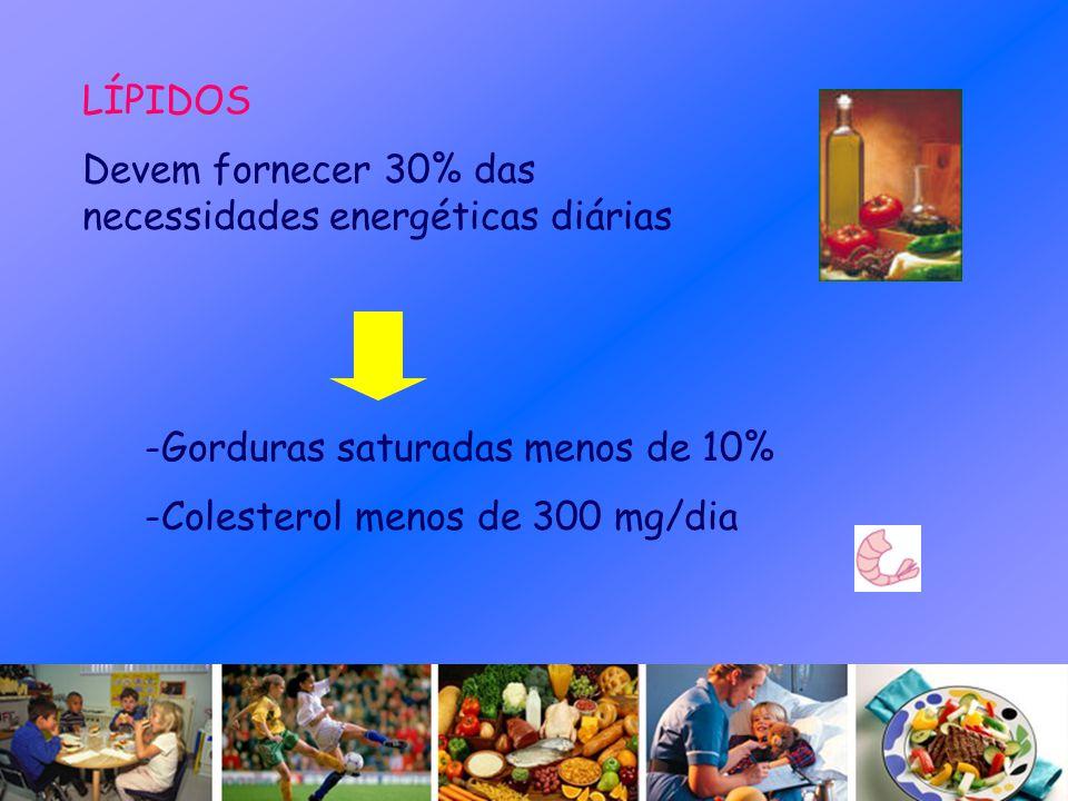 LÍPIDOS Devem fornecer 30% das necessidades energéticas diárias -Gorduras saturadas menos de 10% -Colesterol menos de 300 mg/dia