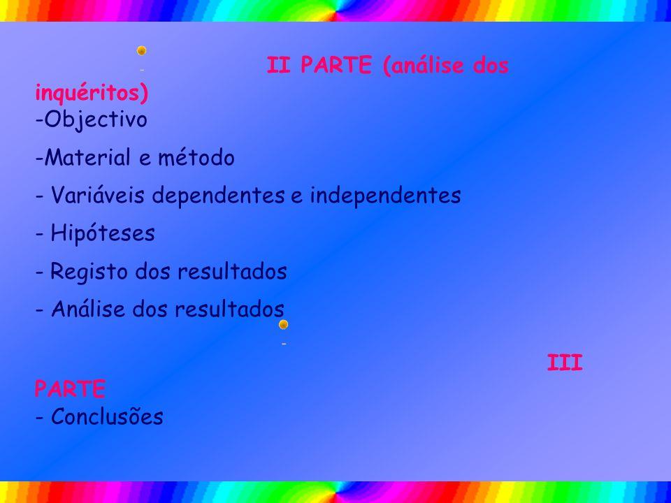 II PARTE (análise dos inquéritos) -Objectivo -Material e método - Variáveis dependentes e independentes - Hipóteses - Registo dos resultados - Análise